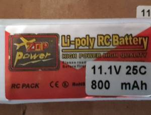 Batteries lipo 3S 11,1v 800 mAh neuves